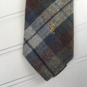 Yves Saint Laurent Wool Blend Plaid Tie